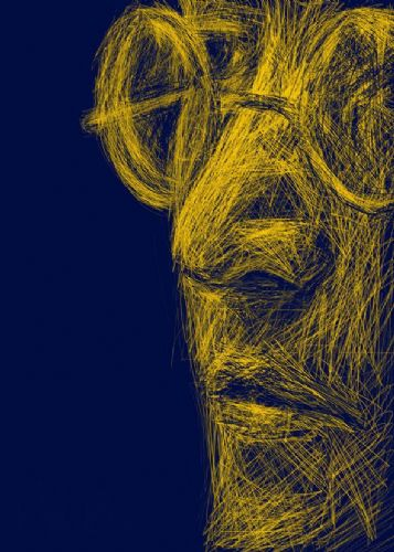 THE BEATLES - JOHN LENNON - Sketch art indigo yellow / canvas print - self adhesive poster - photo
